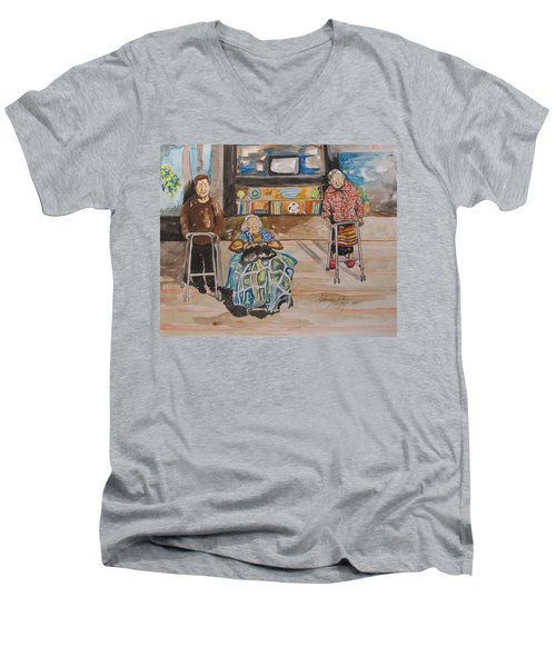 Men's V-Neck T-Shirt featuring the painting We're Still Here by Esther Newman-Cohen