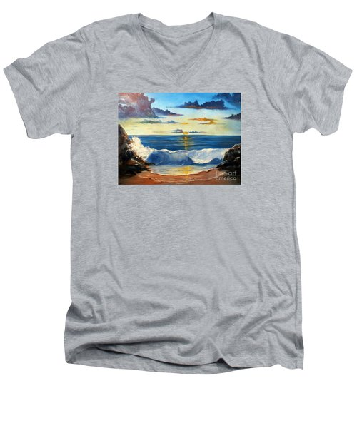 Men's V-Neck T-Shirt featuring the painting West Coast Sunset by Lee Piper
