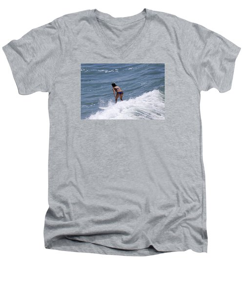 West Coast Surfer Girl Men's V-Neck T-Shirt by Duncan Selby