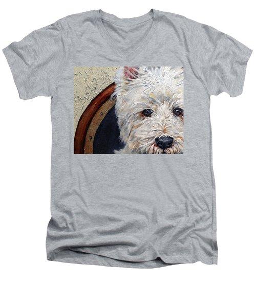 West Highland Terrier Dog Portrait Men's V-Neck T-Shirt