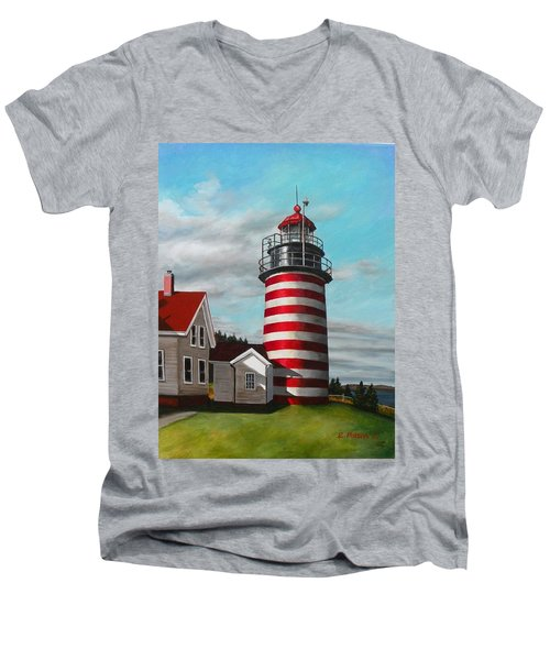 West Quoddy Head Lighthouse Men's V-Neck T-Shirt