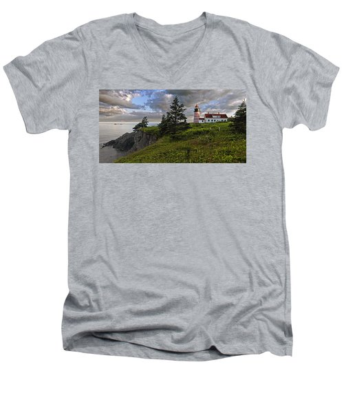 West Quoddy Head Lighthouse Panorama Men's V-Neck T-Shirt by Marty Saccone