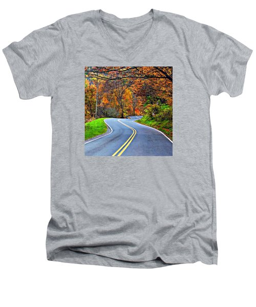 West Virginia Curves 2 Men's V-Neck T-Shirt by Steve Harrington