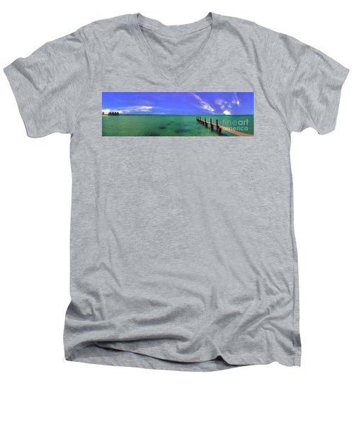 Men's V-Neck T-Shirt featuring the photograph Western Australia Busselton Jetty by David Zanzinger