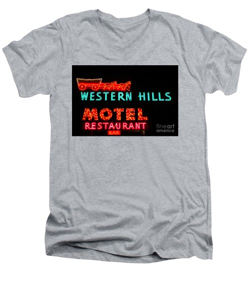 Western Hills Motel Sign Men's V-Neck T-Shirt by Sue Smith