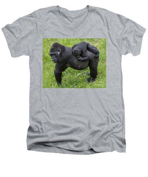 Western Lowland Gorilla 2 Men's V-Neck T-Shirt