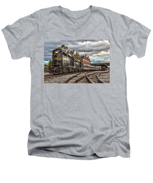 Western Maryland Scenic Railroad Men's V-Neck T-Shirt by Jeannette Hunt