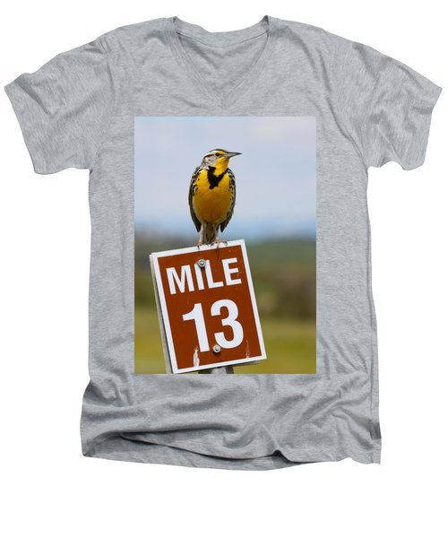 Western Meadowlark On The Mile 13 Sign Men's V-Neck T-Shirt