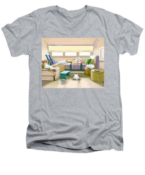 Westie Retreat  Men's V-Neck T-Shirt by Catia Cho