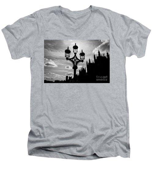 Men's V-Neck T-Shirt featuring the photograph Westminster Silhouette by Matt Malloy