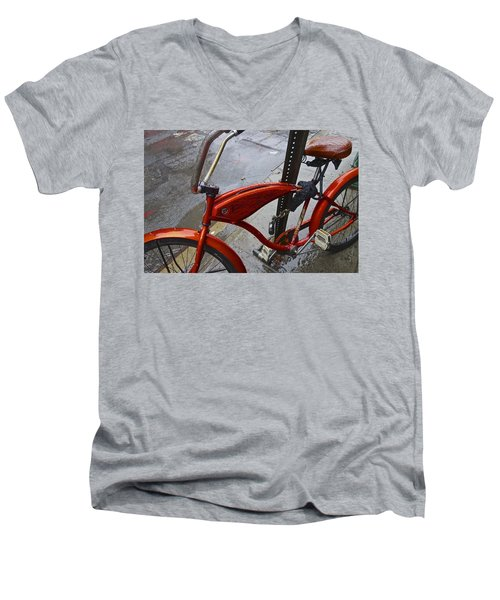 Wet Orange Bike   Nyc Men's V-Neck T-Shirt