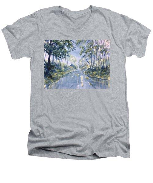 Wet Road In Woldgate Men's V-Neck T-Shirt