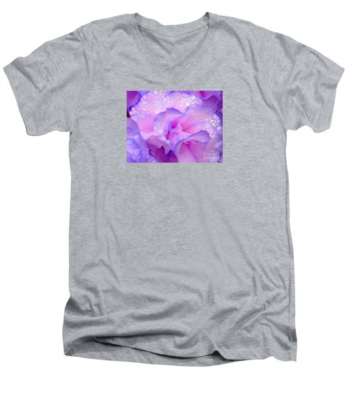 Men's V-Neck T-Shirt featuring the photograph Wet Rose In Pink And Violet by Nareeta Martin
