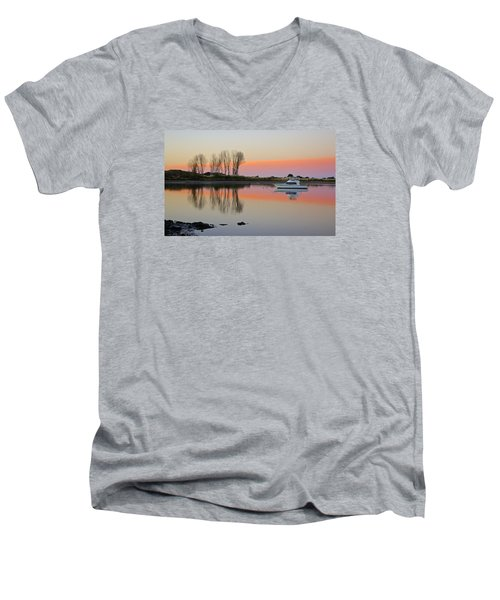 Whakatane At Sunset Men's V-Neck T-Shirt by Venetia Featherstone-Witty