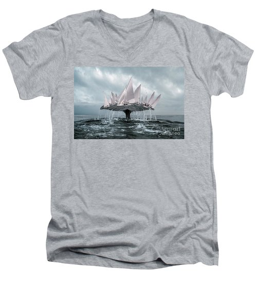 Men's V-Neck T-Shirt featuring the pyrography Whale by Evgeniy Lankin