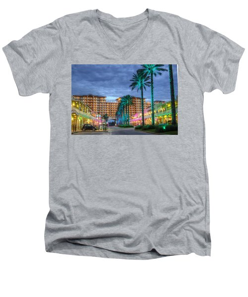 Men's V-Neck T-Shirt featuring the digital art Wharf Turquoise Lighted  by Michael Thomas