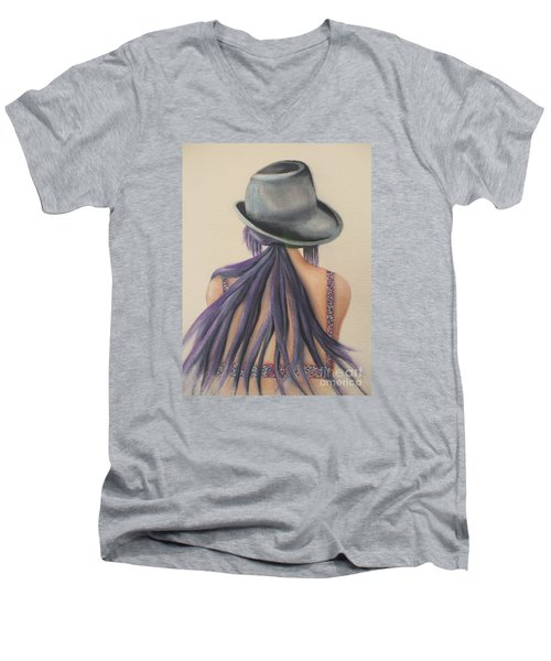 Men's V-Neck T-Shirt featuring the painting What Lies Ahead Series After The Loss Of My Husband  by Chrisann Ellis