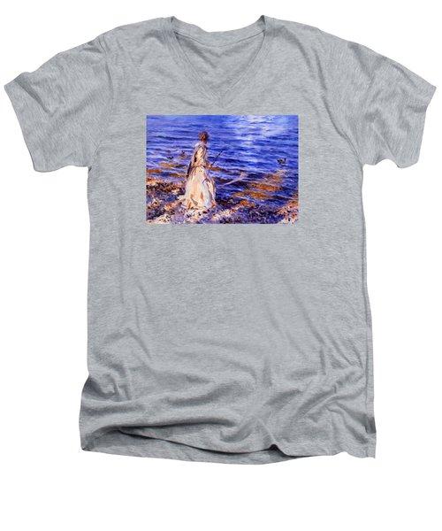 When A Woman Goes Fishing Men's V-Neck T-Shirt