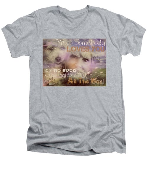 Men's V-Neck T-Shirt featuring the digital art When Somebody Loves You-2 by Kathy Tarochione