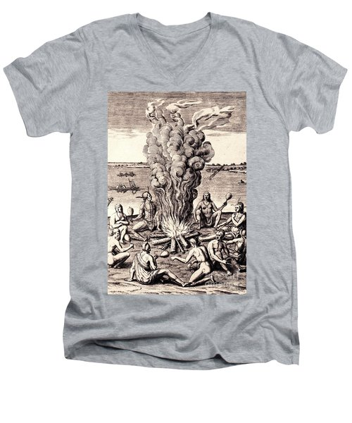 Men's V-Neck T-Shirt featuring the drawing When They Returned From The War They Make Merry About The Fire by Peter Gumaer Ogden