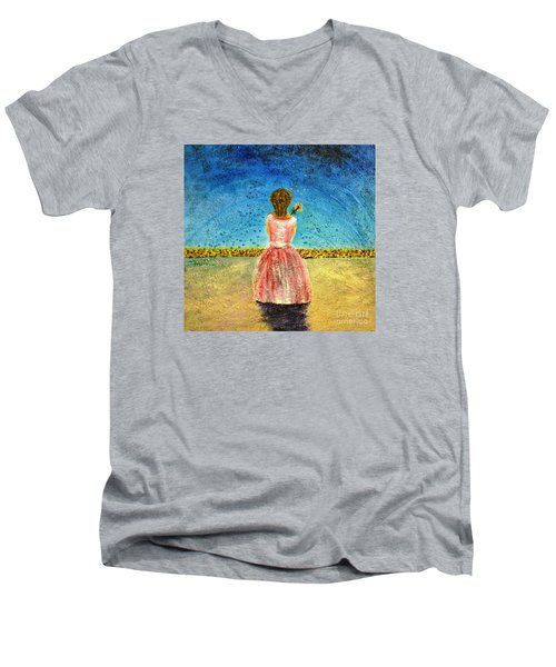 Men's V-Neck T-Shirt featuring the painting Where Angels Sleep by Therese Alcorn