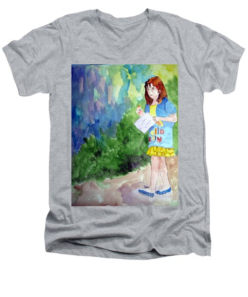Men's V-Neck T-Shirt featuring the painting A Walk In The Woods by Sandy McIntire