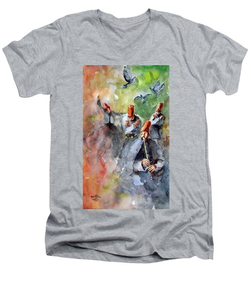 Men's V-Neck T-Shirt featuring the painting Whirling Dervishes And Pigeons         by Faruk Koksal