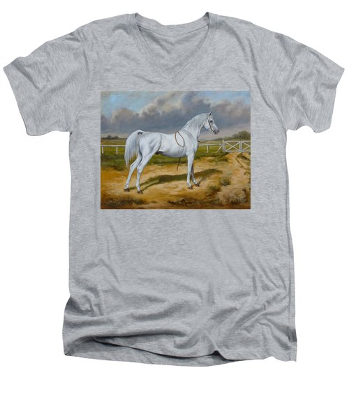 White Arabian Stallion Men's V-Neck T-Shirt