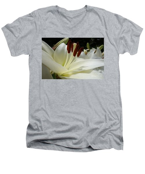 White Asiatic Lily Men's V-Neck T-Shirt by Jacqueline Athmann