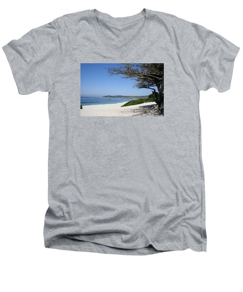 White Beach At Carmel Men's V-Neck T-Shirt