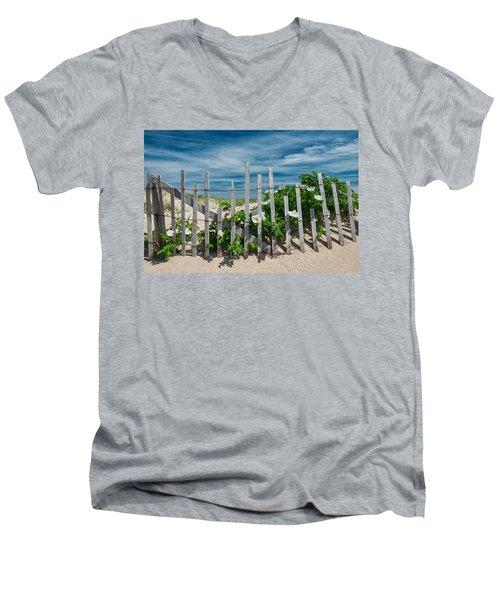 White Beach Roses Men's V-Neck T-Shirt