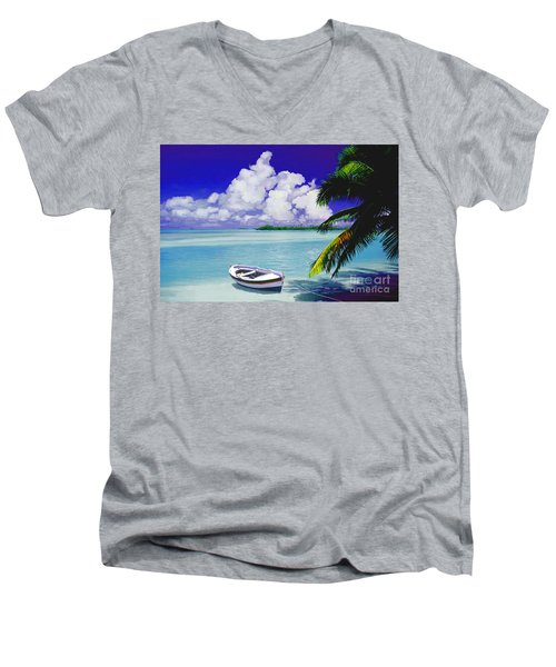 White Boat On A Tropical Island Men's V-Neck T-Shirt