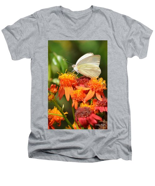 White Butterfly On Mexican Flame Men's V-Neck T-Shirt