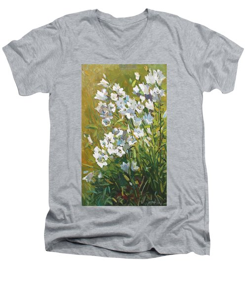 White Campanulas Men's V-Neck T-Shirt