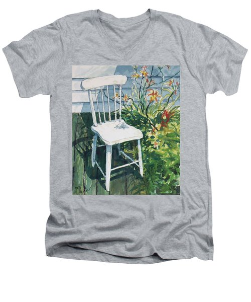 White Chair And Day Lilies Men's V-Neck T-Shirt by Joy Nichols
