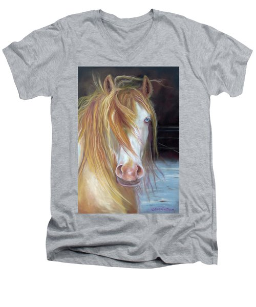White Chocolate Stallion Men's V-Neck T-Shirt by Karen Kennedy Chatham