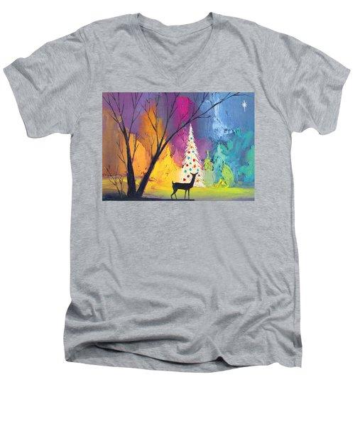 White Christmas Tree Men's V-Neck T-Shirt