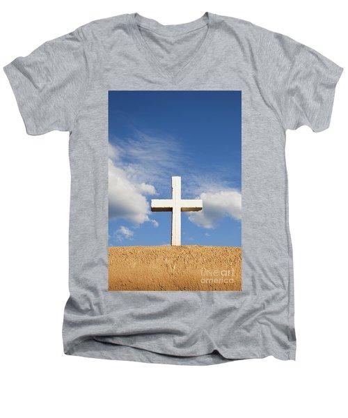 White Cross On Adobe Wall Men's V-Neck T-Shirt