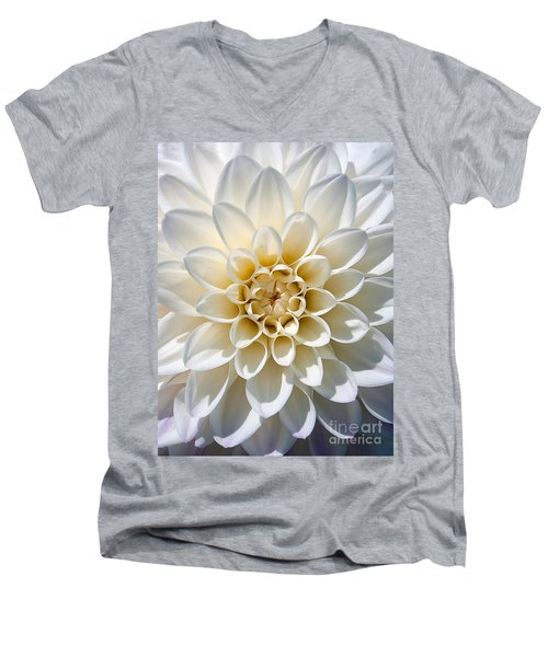 Men's V-Neck T-Shirt featuring the photograph White Dahlia by Carsten Reisinger