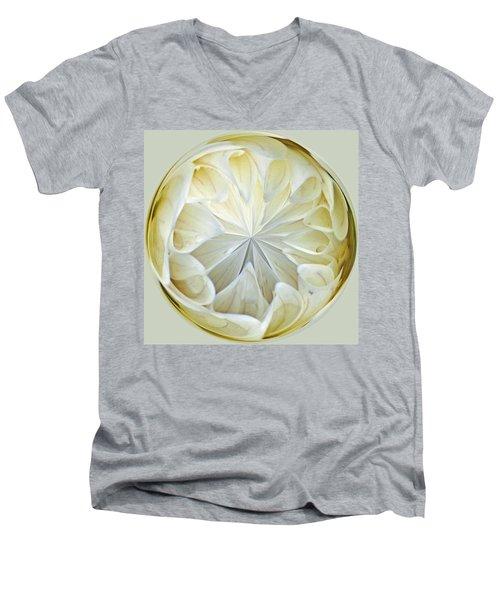 White Dahlia Orb Men's V-Neck T-Shirt