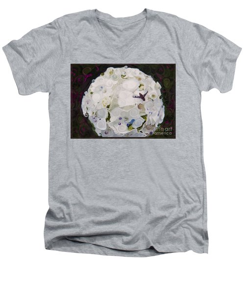 White Flower And Friendly Bee Mixed Media Painting Men's V-Neck T-Shirt