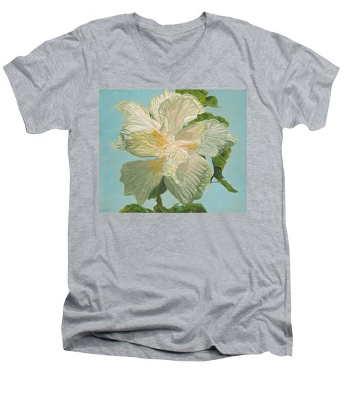 White Hibiscus Men's V-Neck T-Shirt