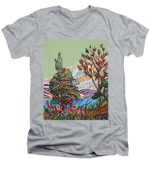White Hills Men's V-Neck T-Shirt by Erika Pochybova