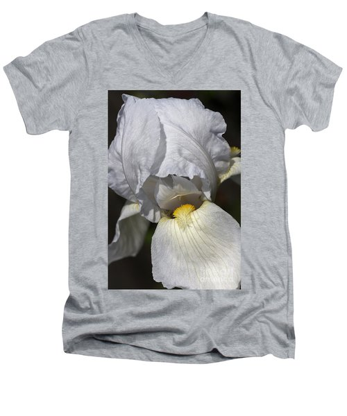 Men's V-Neck T-Shirt featuring the photograph White Iris by Joy Watson