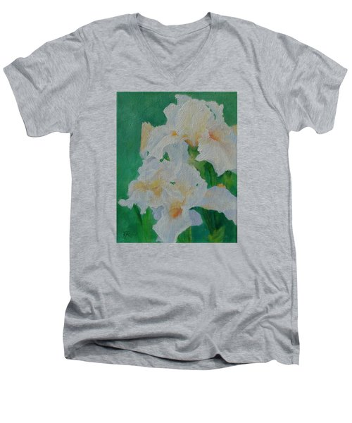 White Irises Original Oil Painting Iris Cluster Beautiful Floral Art Men's V-Neck T-Shirt by Elizabeth Sawyer