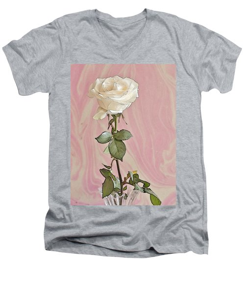 Men's V-Neck T-Shirt featuring the photograph White Long Stemmed Rose by Sandra Foster