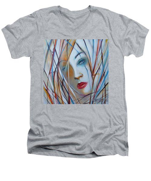 Men's V-Neck T-Shirt featuring the painting White Nostalgia 010310 by Selena Boron