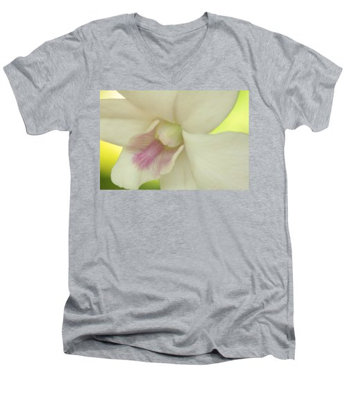 White Orchid Men's V-Neck T-Shirt by Greg Allore