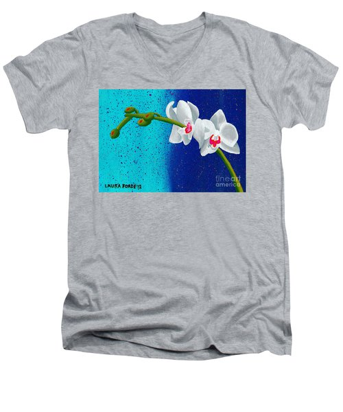 Men's V-Neck T-Shirt featuring the painting White Orchids On Blue by Laura Forde