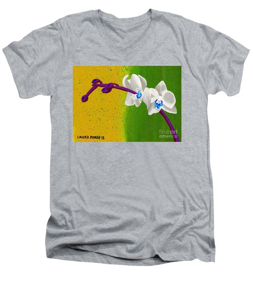 Men's V-Neck T-Shirt featuring the painting White Orchids On Yellow And Green by Laura Forde